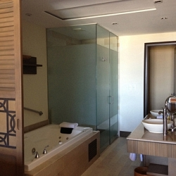 expansive bathroom with privacy