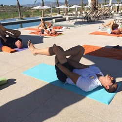 poolside yoga class