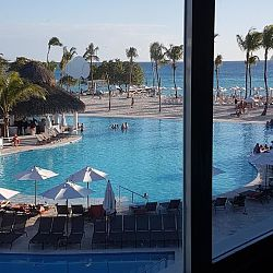 Beach and pool view from gym