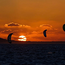 Windsurfers at sundown at Club Med Turks and Caicos