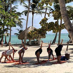 Yoga on the pink sand beach